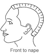 Wig sizes head image - Front to nape